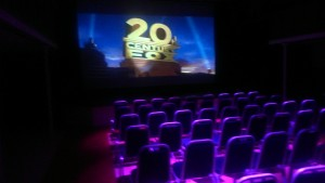 Centre setup for a film night with theatre seating for 120